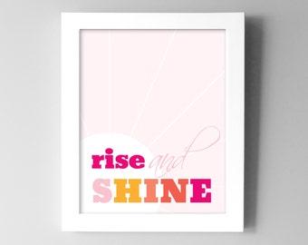 Baby Girl Nursery Decor - Rise & Shine - Pink Nursery Wall Decor - Pink and Orange - Nursery Wall Art Prints - Kids Room Decor