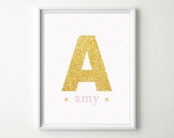 Baby Girl Decor - Glitter Gold Nursery Decor - Gold & Pink Nursery - Glam Nursery Wall Art - Baby Monogram Nursery Print - NOT Real Glitter