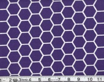 Fabric Honeycomb White on Purple Hexagon Cotton 1/2 Yard