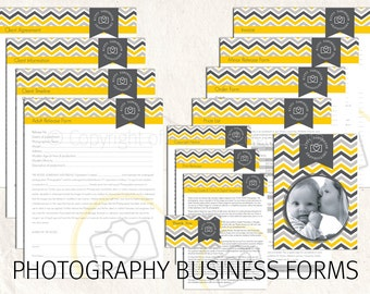 Photography forms - chevron photography business forms photography contract templates chevron PLUS editable logo included