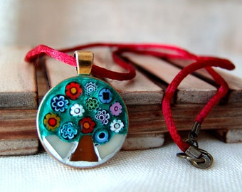 Tree of life necklace, mosaic pendant, stained glass jewelry, free shipping