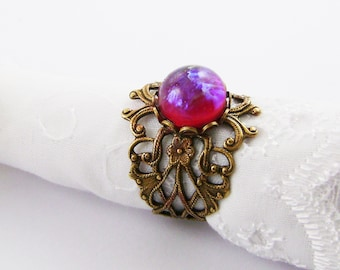 Vintage Style Dragons Breath Filigree Ring.Art Nouveau Style Filigree Dragons Breath Ring ,Gift For Her, Valentine Gift For Her,