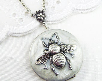 Bee Locket. White Pearl Enameled Bee Locket, Bee Necklace.Valentines Gift For Her,Resin Locket,Holiday Gift For Her.