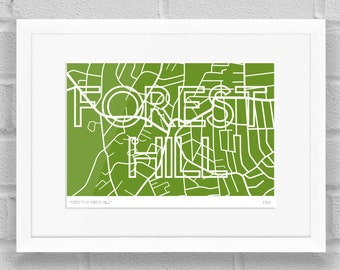 Streets of Forest Hill, London - Limited Edition Giclee Art Poster/Print