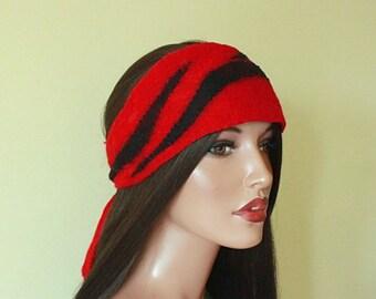 Red headband  Silk and wool felted headband Red knotted headband Nunofelt headband