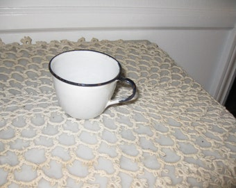 """ANTIQUE ENAMELWARE-Small Cup With Handle-Childs Size 2"""" Tall 3"""" Across Top"""