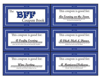 BFF/Bestie Coupon Book|Printable|Digital|Stocking Stuffer|Birthday|Gift|Friend
