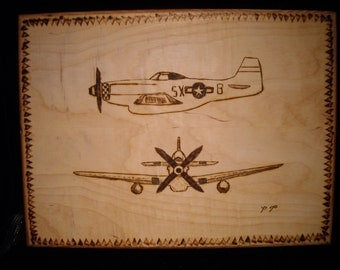 P 51 Mustang  Burnt wood art P 51 burnt wood P 51 P 51