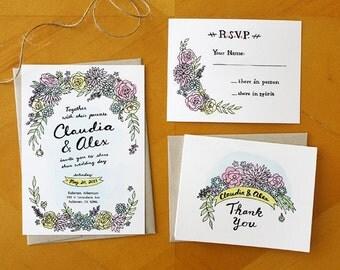 Floral Oasis: Painted Wedding Invitation and RSVP Postcard Suite / Deposit