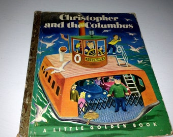 """Vintage Golden Book - Christopher and the Columbus - 1st Edition """"A"""" - 1951"""