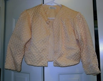 Quilted Bed Jacket Peach 1950's Vintage