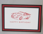 Racing Car Happy Birthday Hand Made Greeting Card, Boys Birthday Card, Masculine Card
