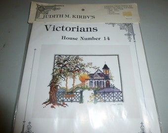 Vintage Judith Kirby Victorian House 14 Counted Cross Stitch Kit Summer Sunset