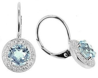 Sky Blue Topaz & Diamond Halo Dangle Drop Earrings 14k White Gold