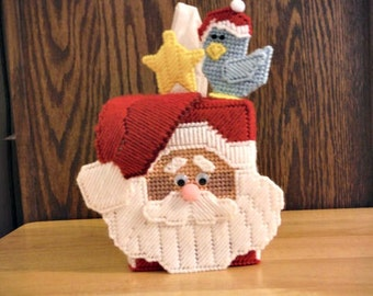 Tissue Box Cover Plastic Canvas Santa, needlepoint, Christmas gift,  Christmas tissue box, holiday tissue box, Santa tissue box