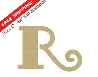 "Unpainted Wooden Letter ""R"" – Unpainted, Decorative Font -- Perfect for Crafts, DIY, Nursery, Kids Rooms, Weddings – Sizes 1"" to 42"""