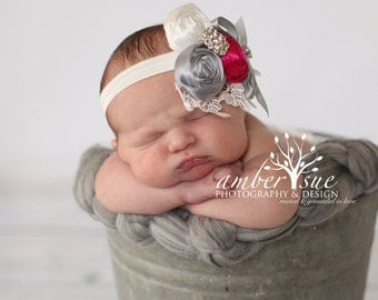 Flower Girl Headband - Pink and Gray Rolled Roses with Rhinestone Brooch and Lace