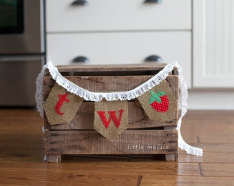 TWO strawberry Burlap Banner for Second Birthday