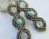 Grey Macrame Earrings with Quartz and Amazonite Gemstone beads Handmade Creation