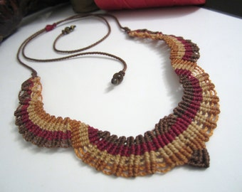 Macrame Necklace Handmade with gemstones details
