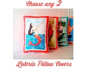 SPECIAL: Choose 2+ Loteria Pillow Covers (in-stock) Linen Cotton Canvas - Mexico Chic - Day of the Dead, Dia de los Muertos