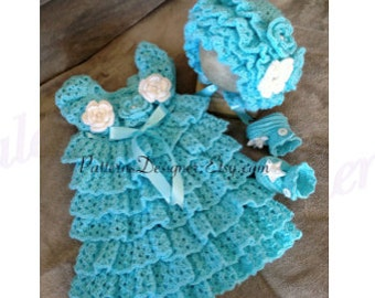 Free Crochet Ruffle Dress Patterns : Crochet Ruffled Baby Dress Pattern galleryhip.com - The ...