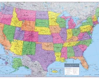 "UNITED STATES Map USA Poster 36""x24"" print size - Paper Factory Folded"