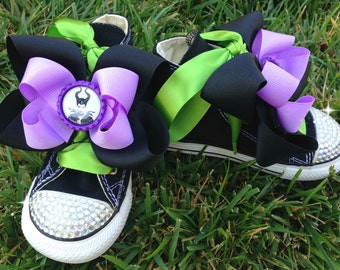 MALEFICENT SHOES - Maleficent Birthday - Maleficent Party - Maleficent Costume - Maleficent Bow - Black crystal Converse