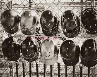 Vintage Baseball Portrait Boys Room Decor - Black White Photo - Helmet - Coach Gift