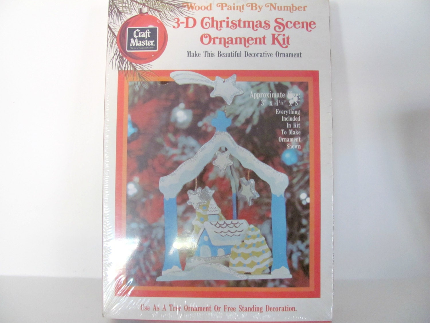 Craft master paint by number kits - Vintage Christmas Crafts 1970 S Craft Master Paint By Number Wood Ornament Kit Winter House Ornament Christmas Decor