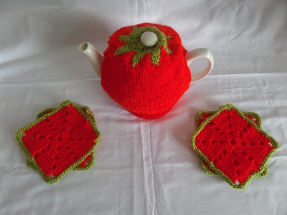 Novelty Tea Cosy Knitting Patterns : Hand Knitted Novelty Strawberry Tea Cosy by ButtonsKnitsnBits