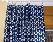 New Modern Sydney CURTAINS Premier Fabric Navy Blue White Two Drapery Panels Drapes Window Treatment 50""