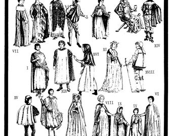 Medieval - Renaissance 650-1650 AD Capes & Tabards - Adult and Children size Sewing Pattern Period Patterns #92