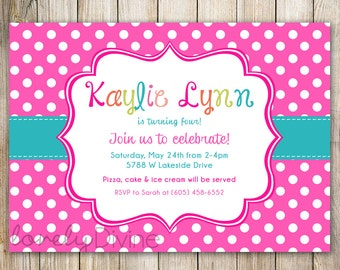 Pink Polka Dots Birthday Invitation, 1st Birthday Invitation, 2nd Birthday Invitation, 3rd Birthday, 4th, 5th, 6th, 7th, etc, PRINTABLE