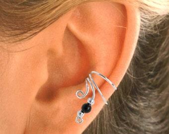 Black Onyx Non-Pierced Ear Cuff - Earring Wraps Sterling Silver PAIR -  #1B-BO-PR