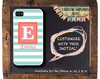 Preppy Stripe iPhone Case, Personalized iPhone Case, Monogrammed iPhone, iPhone 4, iPhone 4s, iPhone 5, iPhone 5s, iPhone 5c, iPhone 6