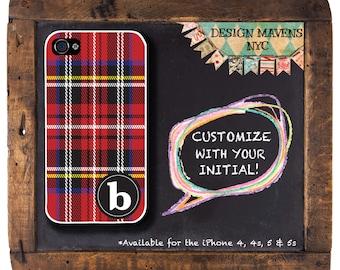 Red Tartan iPhone Case, Monogram iPhone Case, Personalized iPhone, iPhone 4, 4s, iPhone 5, iPhone 5s, iPhone 5c, iPhone 6, Phone Cover