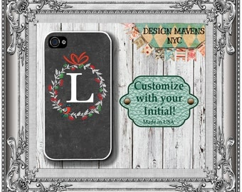 Holiday Wreath iPhone Case, Personalized iPhone Case, iPhone 4, 4s, iPhone 5, 5s, 5c, iPhone 6, 6s, iPhone 6 Plus, Phone Cover, Phone Case