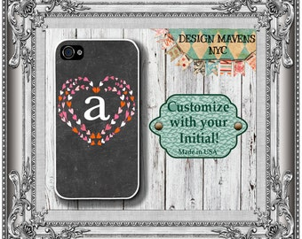 Valentine Hearts iPhone Case, Monogram Phone Case, Personalized iPhone Case, iPhone 4, 4s, iPhone 5, 5s, 5c, iPhone 6, 6s, 6 Plus