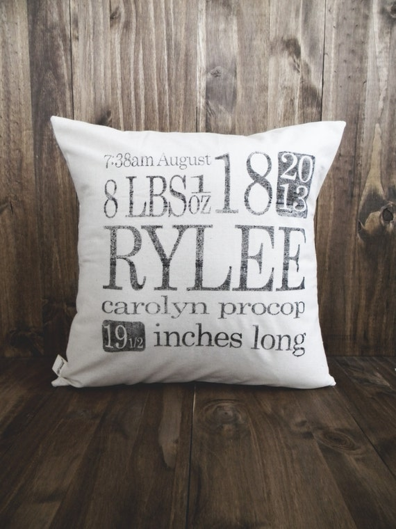 Personalized Birth Stats 16 X 16 Pillow By Parrischicboutique