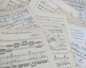 15 Sheets of Vintage Sheet Music of multiple sizes Paper Ephemera With Lyrics