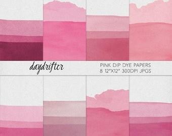 INSTANT DOWNLOAD Pink Dip-Dye Digital Paper - Ombre Watercolor Texture - Scrapbooking Background