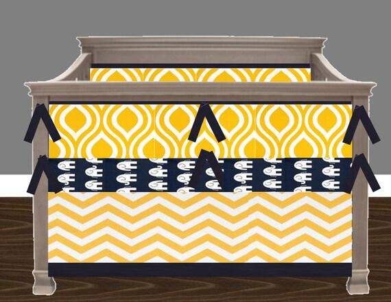 Items similar to custom crib bedding navy blue and yellow - Navy blue and yellow bedding ...