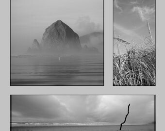 Feature Photo Art Piece: Oregon Series - black and white, rustic, ocean, grey, haystack rock, sea, collage wall