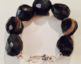 sale Etsy Black and white natural Chalcedony thai silver toggle bracelet unisex gift idea birthday