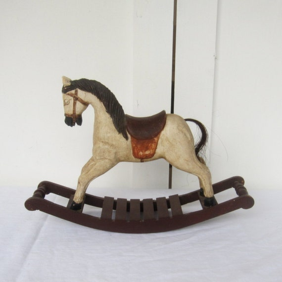 Vintage Wooden Rocking Horse, Small Toy or Rustic Home Decor Accessory