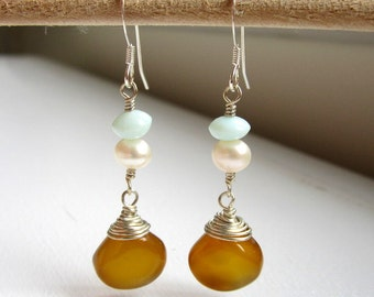 Amber Chalcedony, Freshwater Pearl, and Aventurine Earrings