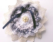 Victorian Brooch Inspired- Lace Fabric Flower Lolita hairclip with Embroidery Lace and Beading-Gold
