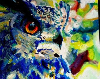 Abstract colourful owl