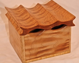 Handcarved Curly Maple Wave Top Box-OOAK